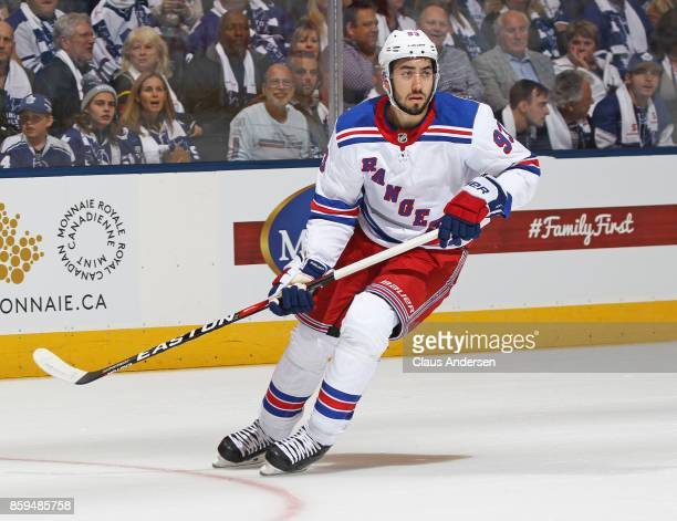 Mika Zibanejad of the New York Rangers skates against the Toronto Maple Leafs in an NHL game at the Air Canada Centre on October 7 2017 in Toronto...
