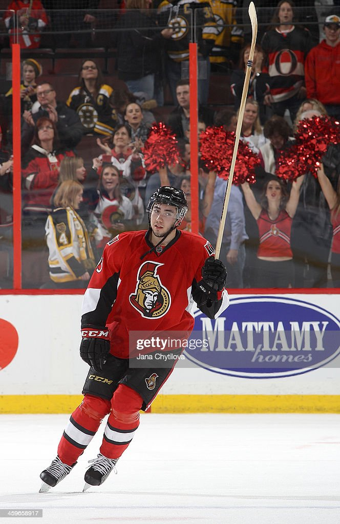 <a gi-track='captionPersonalityLinkClicked' href=/galleries/search?phrase=Mika+Zibanejad&family=editorial&specificpeople=7832310 ng-click='$event.stopPropagation()'>Mika Zibanejad</a> #93 of the Ottawa Senators acknowledges the fans after being named first star of the game following a win against the Boston Bruins during an NHL game at Canadian Tire Centre on December 28, 2013 in Ottawa, Ontario, Canada.
