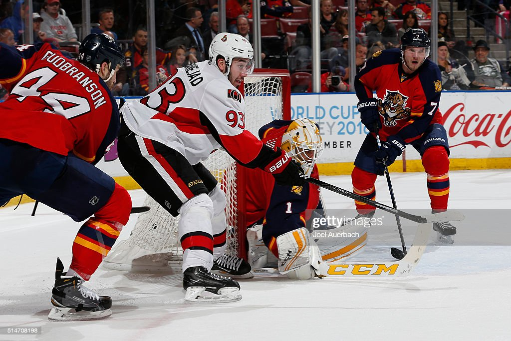 Mika Zibanejad #93 of the Ottawa Senators attempts to get his stick in position for a tip-in in front of goaltender Roberto Luongo #1 of the Florida Panthers at the BB&T Center on March 10, 2016 in Sunrise, Florida. The Panthers defeated the Senators 6-2.