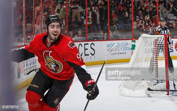 Mika Zibanejad of the Ottawa Senators celebrates his late third period gametying goal against the Minnesota Wild at Canadian Tire Centre on March 15...