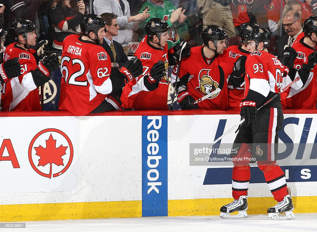 Mika Zibanejad #93 of the Ottawa Senators celebrates his third period power-play goal with team mates, during an NHL game against the New York Rangers, at Scotiabank Place on February 21, 2013 in Ottawa, Ontario, Canada.