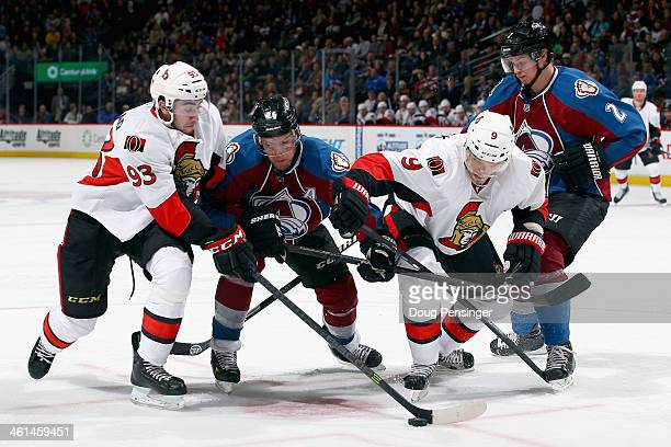 Mika Zibanejad of the Ottawa Senators Paul Stastny of the Colorado Avalanche Milan Michalek of the Ottawa Senators and Nick Holden of the Colorado...