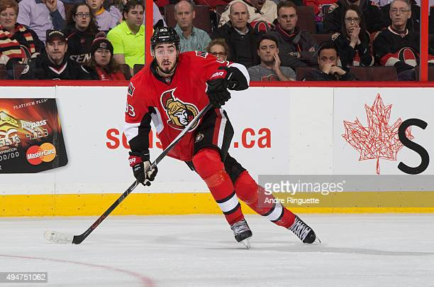 Mika Zibanejad of the Ottawa Senators skates against the Calgary Flames at Canadian Tire Centre on October 28 2015 in Ottawa Ontario Canada