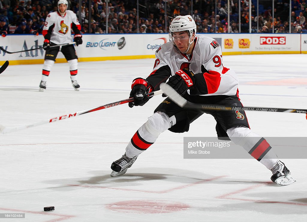 <a gi-track='captionPersonalityLinkClicked' href=/galleries/search?phrase=Mika+Zibanejad&family=editorial&specificpeople=7832310 ng-click='$event.stopPropagation()'>Mika Zibanejad</a> #93 of the Ottawa Senators skates against the New York Islanders at Nassau Veterans Memorial Coliseum on March 19, 2013 in Uniondale, New York. The Senators defeated the Islanders 5-3.