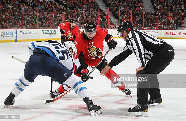 Mika Zibanejad of the Ottawa Senators skates against the Winnipeg Jets at Canadian Tire Centre on November 8 2014 in Ottawa Ontario Canada