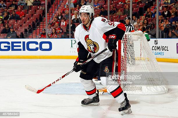 Mika Zibanejad of the Ottawa Senators skates for position against the Florida Panthers at the BBT Center on October 13 2014 in Sunrise Florida