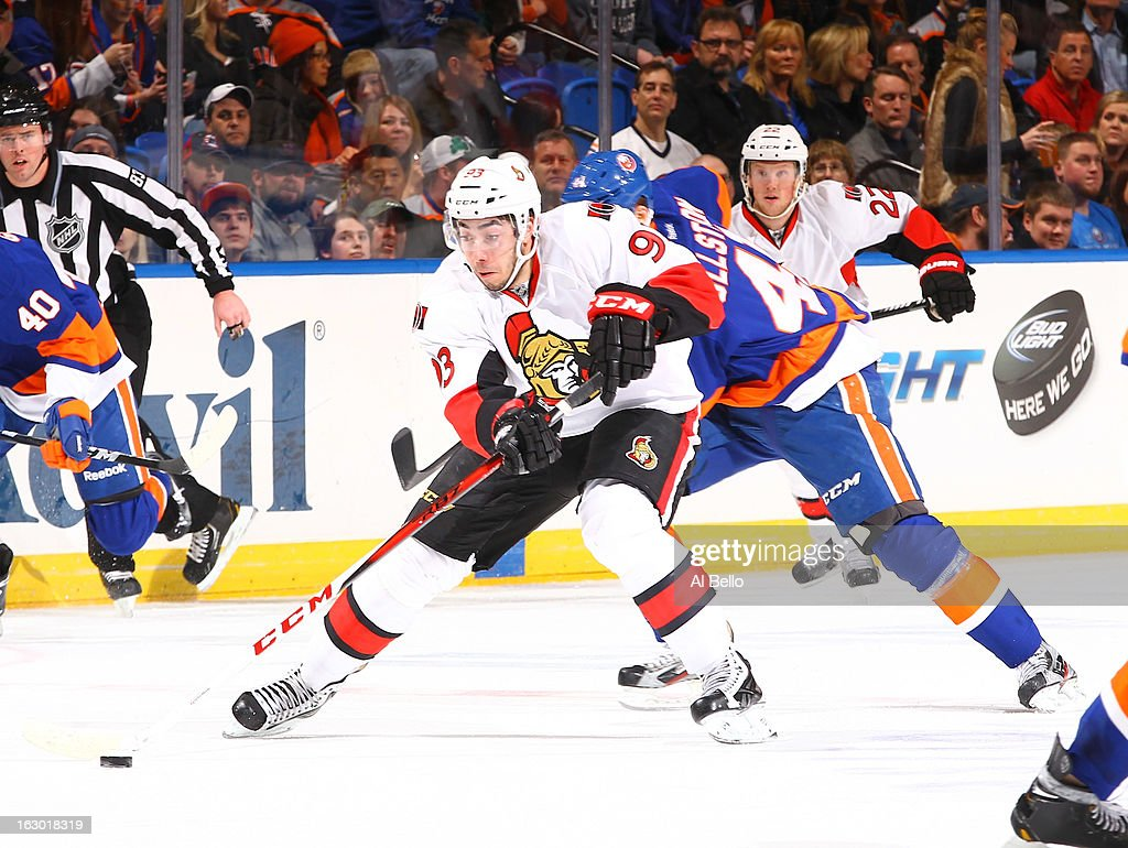 Mika Zibanejad #93 of the Ottawa Senators skates with the puck against the New York Islanders during their game at Nassau Veterans Memorial Coliseum on March 3, 2013 in Uniondale, New York.