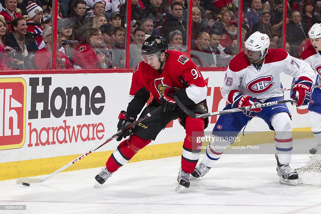 Mika Zibanejad #93 of the Ottawa Senators uses his body to protect the puck from P.K. Subban #76 of the Montreal Canadiens, during an NHL game, at Scotiabank Place on February 25, 2013 in Ottawa, Ontario, Canada.