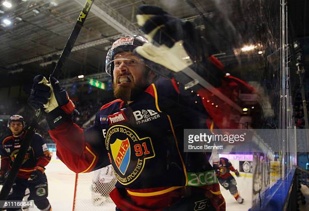 Mikael Ahlen of Djurgarden Hockey celebrares his goal at 1547 of the second period against Linkoping HC at Hovet Arena on February 18 2016 in...