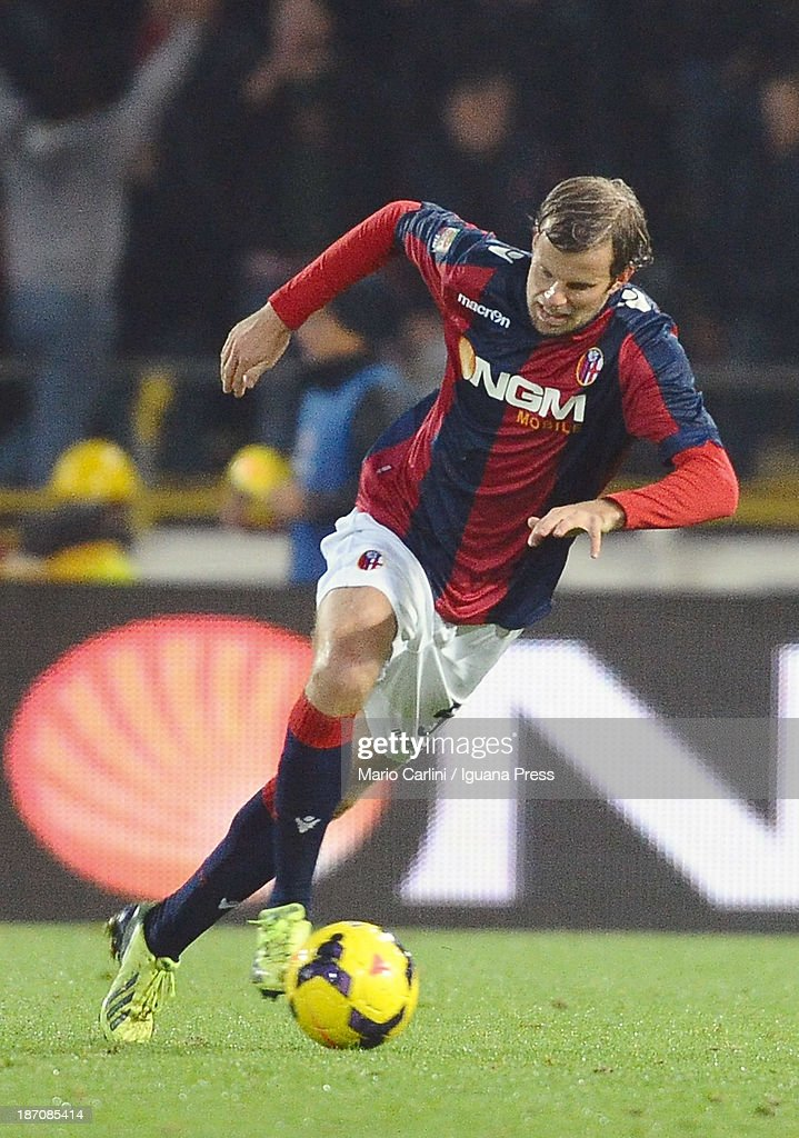 Mikael Antonsson # 5 of Bologna FC in action during the Serie A match between Bologna FC and AC Chievo Verona at Stadio Renato Dall'Ara on November 4, 2013 in Bologna, Italy.