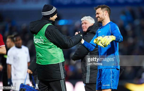 Mikael Antonsson of FC Copenhagen shake hands with Goalkeeper Jesper Christiansen of Vendsyssel FF after the Danish cup DBU Pokalen semfinal match...
