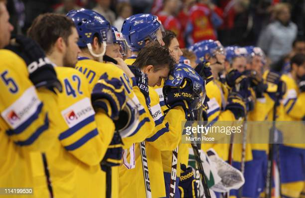 Mikael Backlund of Sweden looks dejected after losing the IIHF World Championship gold medal match between Sweden and Finland at Orange Arena on May...