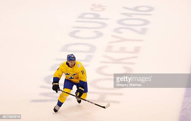 Mikael Backlund of Team Sweden skates against Team Russia in the second period during the World Cup of Hockey at the Air Canada Center on September...