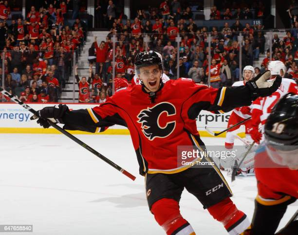 Mikael Backlund of the Calgary Flames celebrates after a goal against the Detroit Red Wings at Scotiabank Saddledome on March 3 2017 in Calgary...