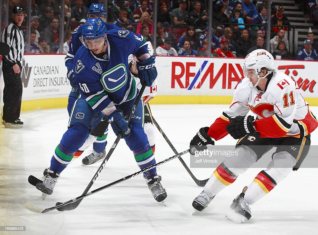 <a gi-track='captionPersonalityLinkClicked' href=/galleries/search?phrase=Mikael+Backlund&family=editorial&specificpeople=4324942 ng-click='$event.stopPropagation()'>Mikael Backlund</a> #11 of the Calgary Flames checks <a gi-track='captionPersonalityLinkClicked' href=/galleries/search?phrase=Maxim+Lapierre&family=editorial&specificpeople=718385 ng-click='$event.stopPropagation()'>Maxim Lapierre</a> #40 of the Vancouver Canucks during their NHL game at Rogers Arena April 6, 2013 in Vancouver, British Columbia, Canada. Vancouver won 5-2