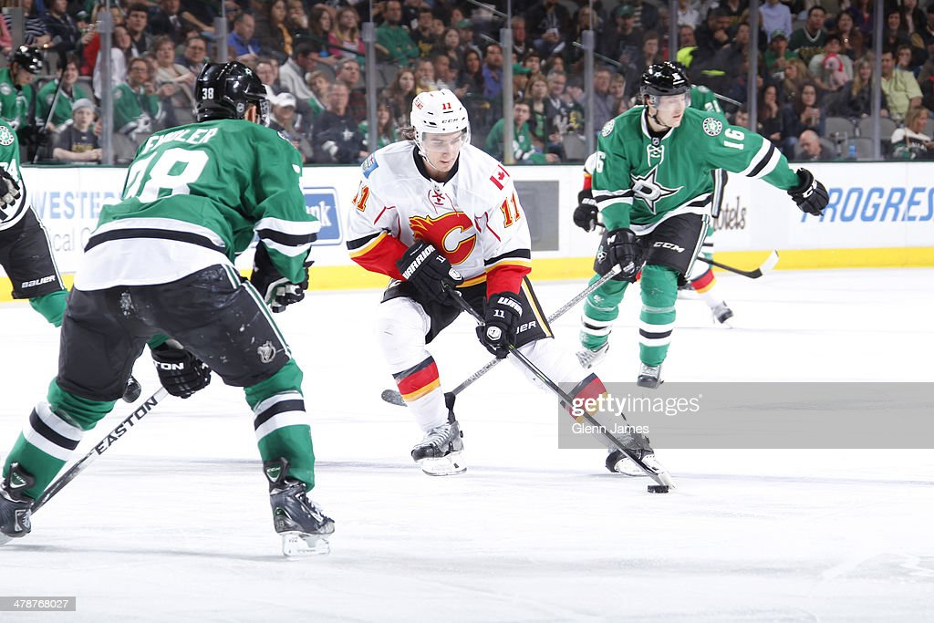 <a gi-track='captionPersonalityLinkClicked' href=/galleries/search?phrase=Mikael+Backlund&family=editorial&specificpeople=4324942 ng-click='$event.stopPropagation()'>Mikael Backlund</a> #11 of the Calgary Flames handles the puck against <a gi-track='captionPersonalityLinkClicked' href=/galleries/search?phrase=Vernon+Fiddler&family=editorial&specificpeople=208086 ng-click='$event.stopPropagation()'>Vernon Fiddler</a> #38 of the Dallas Stars at the American Airlines Center on March 14, 2014 in Dallas, Texas.