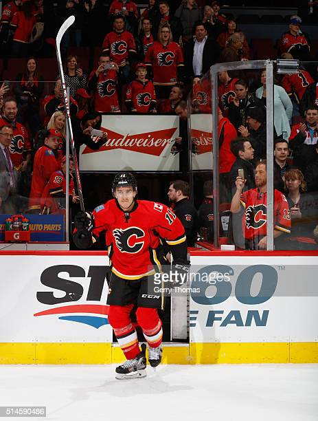 Mikael Backlund of the Calgary Flames is awarded 2nd Star of the game against the Nashville Predators at Scotiabank Saddledome on March 9 2016 in...