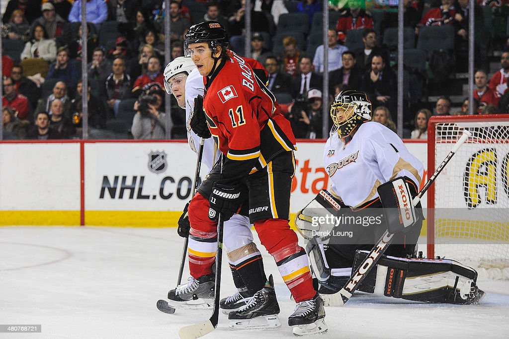 <a gi-track='captionPersonalityLinkClicked' href=/galleries/search?phrase=Mikael+Backlund&family=editorial&specificpeople=4324942 ng-click='$event.stopPropagation()'>Mikael Backlund</a> #11 of the Calgary Flames looks for an opportunity in front of the net of <a gi-track='captionPersonalityLinkClicked' href=/galleries/search?phrase=Jonas+Hiller&family=editorial&specificpeople=743364 ng-click='$event.stopPropagation()'>Jonas Hiller</a> #1 of the Anaheim Ducks during an NHL game at Scotiabank Saddledome on March 26, 2014 in Calgary, Alberta, Canada. The Ducks defeated the Flames 3-2.