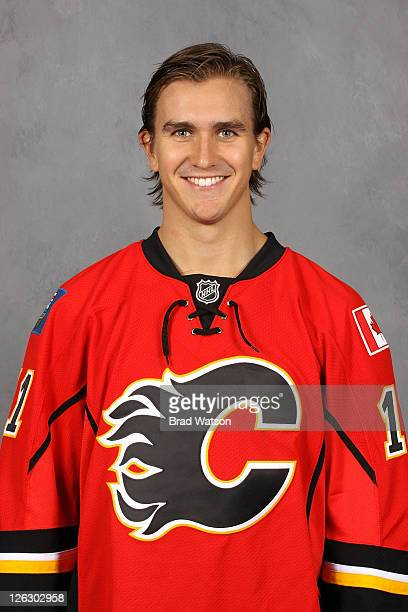 Mikael Backlund of the Calgary Flames poses for his official headshot for the 20112012 season on September 17 2011 at the Scotiabank Saddledome in...