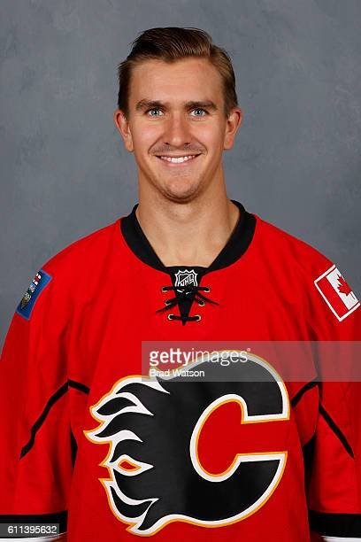 Mikael Backlund of the Calgary Flames poses for his official headshot for the 20152016 season on September 17 2015 at the WinSport Winter Sport...