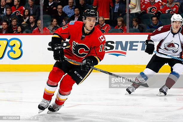 Mikael Backlund of the Calgary Flames skates against the Colorado Avalanche at Scotiabank Saddledome on March 23 2015 in Calgary Alberta Canada