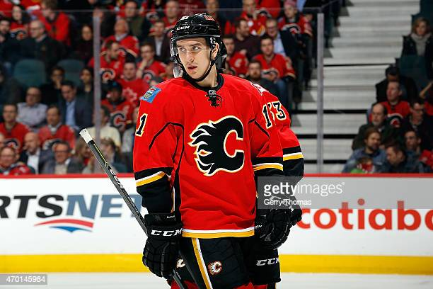 Mikael Backlund of the Calgary Flames skates against the Colorado Avalanche at Scotiabank Saddledome on March 23 2015 in Calgary Alberta Canada...