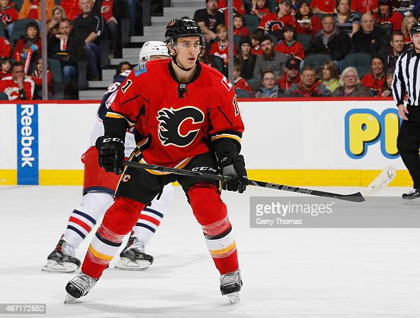Mikael Backlund of the Calgary Flames skates against the Columbus Blue Jackets at Scotiabank Saddledome on March 21 2015 in Calgary Alberta Canada