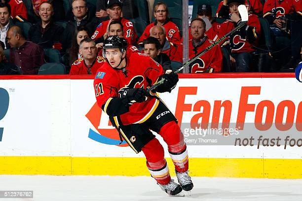 Mikael Backlund of the Calgary Flames skates against the New York Islanders during an NHL game at Scotiabank Saddledome on February 25 2016 in...