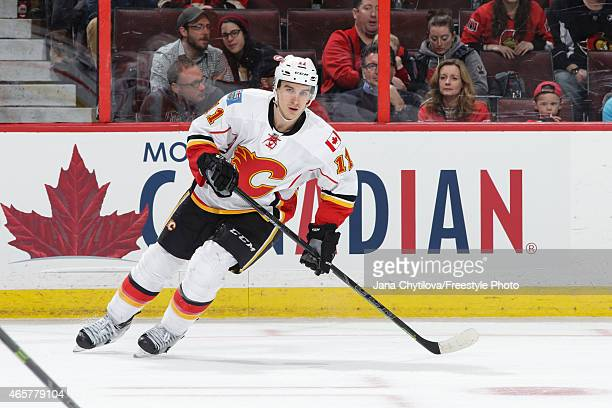Mikael Backlund of the Calgary Flames skates against the Ottawa Senators at Canadian Tire Centre on March 8 2015 in Ottawa Ontario Canada