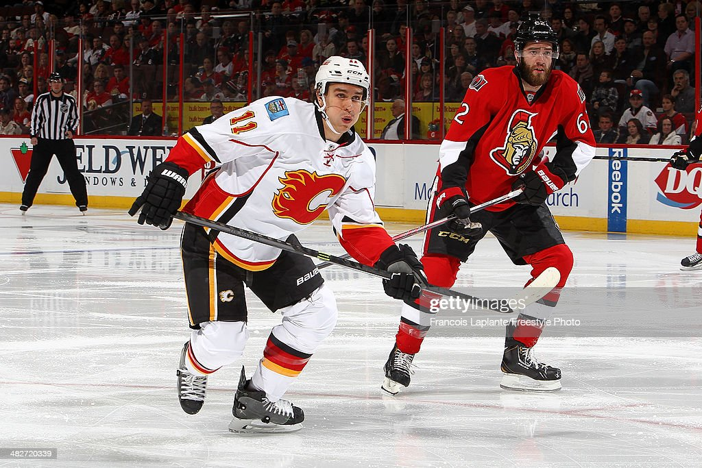 <a gi-track='captionPersonalityLinkClicked' href=/galleries/search?phrase=Mikael+Backlund&family=editorial&specificpeople=4324942 ng-click='$event.stopPropagation()'>Mikael Backlund</a> #11 of the Calgary Flames skates against the Ottawa Senators at Canadian Tire Centre on March 30, 2014 in Ottawa, Ontario, Canada.