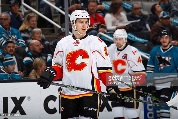 Mikael Backlund of the Calgary Flames skates against the San Jose Sharks at SAP Center on February 11 2016 in San Jose California