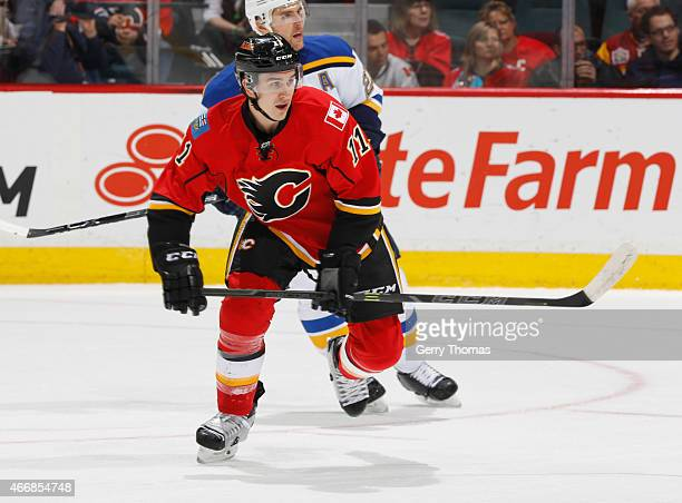 Mikael Backlund of the Calgary Flames skates against the St Louis Blues at Scotiabank Saddledome on March 17 2015 in Calgary Alberta Canada