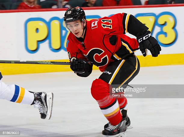 Mikael Backlund of the Calgary Flames skates against the St Louis Blues at Scotiabank Saddledome on March 14 2016 in Calgary Alberta Canada