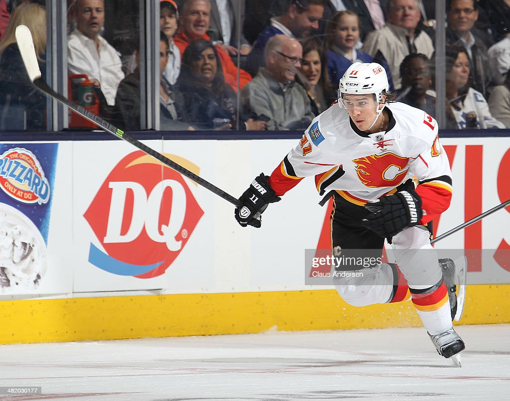 Mikael Backlund #11 of the Calgary Flames skates against the Toronto Maple Leafs during an NHL game at the Air Canada Centre on April 1, 2014 in Toronto, Ontario, Canada. The Leafs defeated the Flames 3-2.