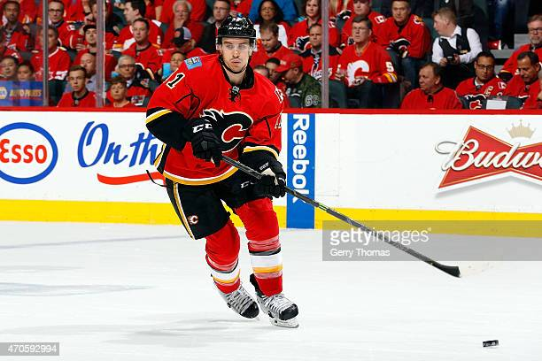 Mikael Backlund of the Calgary Flames skates against the Vancouver Canucks at Scotiabank Saddledome for Game Four of the Western Quarterfinals during...