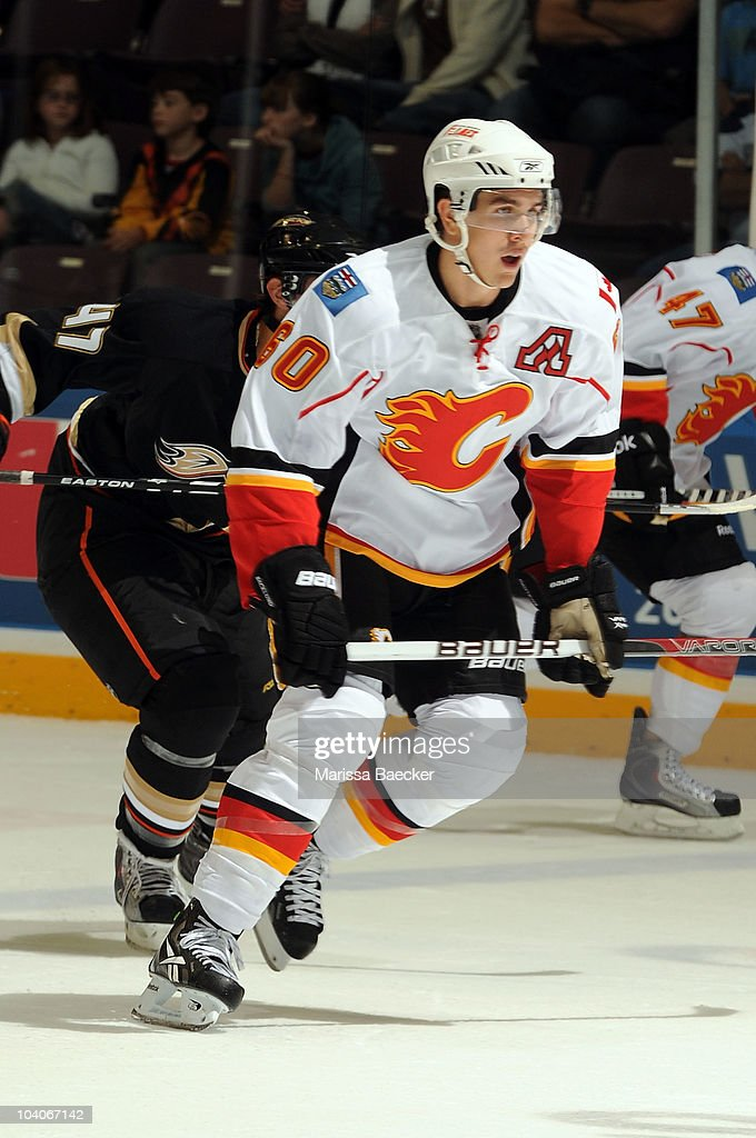 Mikael Backlund #60 of the Calgary Flames skates on the ice against the Anaheim Ducks during game 2 of the Young Stars Tournament on September 13, 2010 in Penticton, Canada.