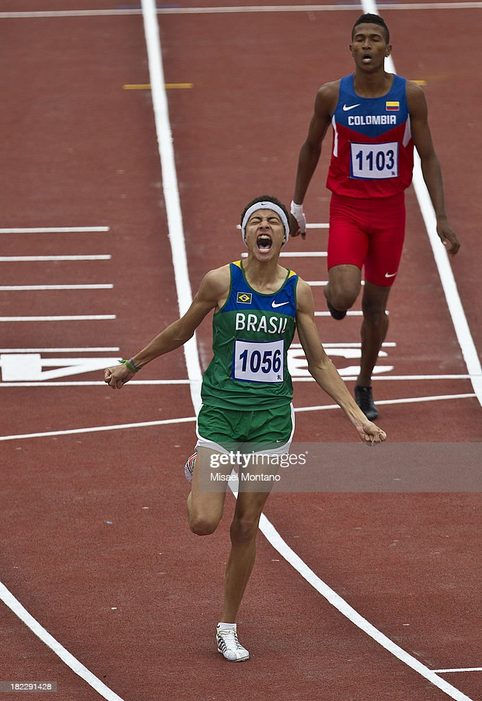 Mikael de Jesus of Brazil competes during men's 400m Hurdles event as part of the I ODESUR South American Youth Games at Estadio Miguel Grau on September 29, 2013 in Lima, Peru.