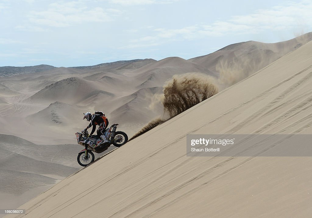 Mikael Despontin of team Defi Suisse Dakar competes in stage 6 from Arica to Calama during the 2013 Dakar Rally on January 10, 2013 in Arica, Chile.