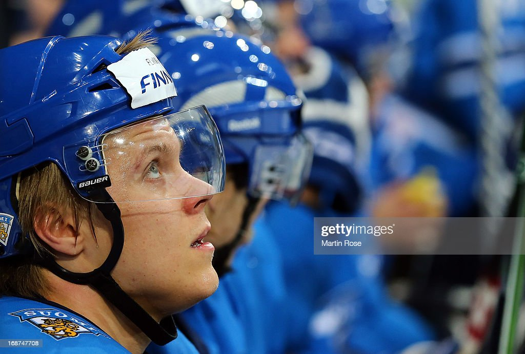 Mikael Granlund of Finland looks on during the IIHF World Championship group H match between Latvia and Finland at Hartwall Areena on May 14, 2013 in Helsinki, Finland.