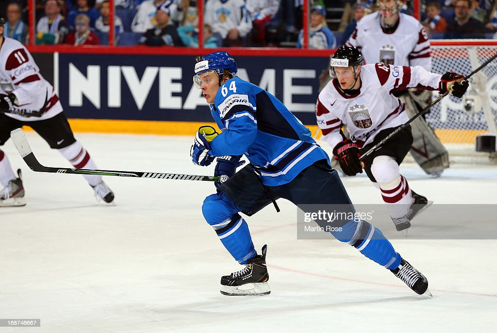 Mikael Granlund of Finland skates up the ice against Latvia during the IIHF World Championship group H match between Latvia and Finland at Hartwall Areena on May 14, 2013 in Helsinki, Finland.