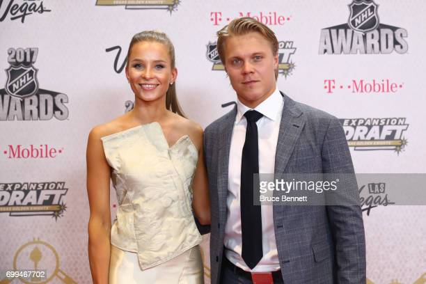 Mikael Granlund of the Minnesota Wild and guest attend the 2017 NHL Awards at TMobile Arena on June 21 2017 in Las Vegas Nevada