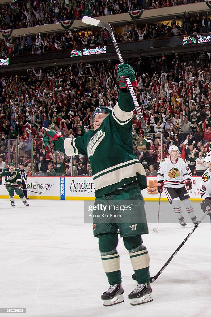 <a gi-track='captionPersonalityLinkClicked' href=/galleries/search?phrase=Mikael+Granlund&family=editorial&specificpeople=5649678 ng-click='$event.stopPropagation()'>Mikael Granlund</a> #64 of the Minnesota Wild celebrates after scoring a goal against the Chicago Blackhawks during Game Three of the Second Round of the 2014 Stanley Cup Playoffs on May 6, 2014 at the Xcel Energy Center in St. Paul, Minnesota.