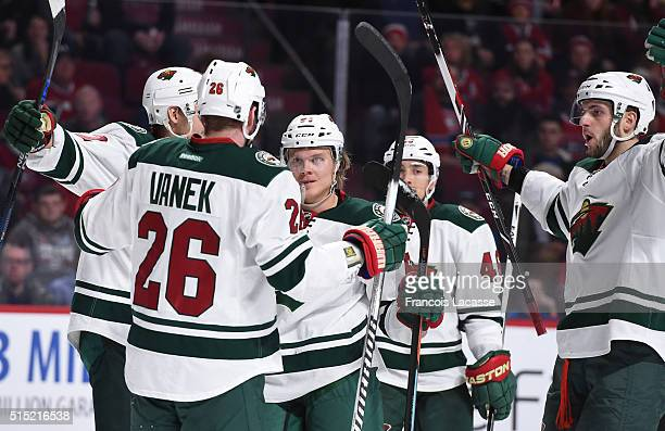 Mikael Granlund of the Minnesota Wild celebrates after scoring a goal against the Montreal Canadiens in the NHL game at the Bell Centre on March 12...