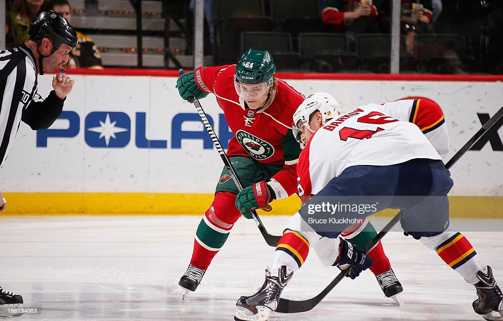 <a gi-track='captionPersonalityLinkClicked' href=/galleries/search?phrase=Mikael+Granlund&family=editorial&specificpeople=5649678 ng-click='$event.stopPropagation()'>Mikael Granlund</a> #64 of the Minnesota Wild prepares for a faceoff against <a gi-track='captionPersonalityLinkClicked' href=/galleries/search?phrase=Aleksander+Barkov&family=editorial&specificpeople=8760147 ng-click='$event.stopPropagation()'>Aleksander Barkov</a> #16 of the Florida Panthers during the game on November 15, 2013 at the Xcel Energy Center in St. Paul, Minnesota.