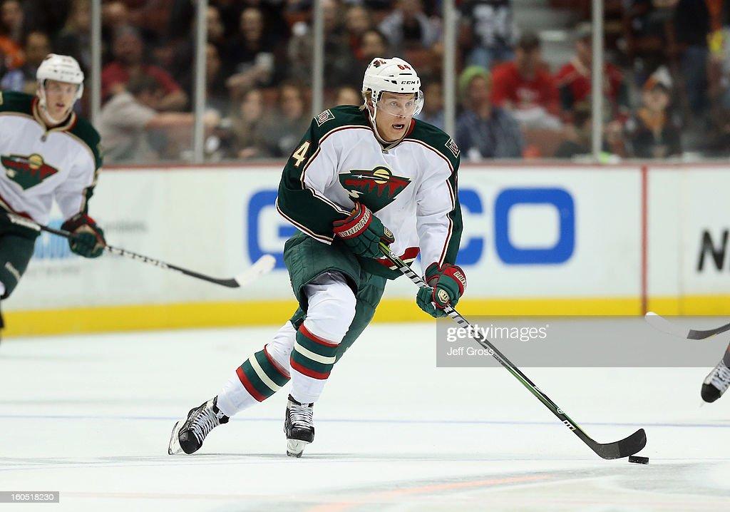 Mikael Granlund #64 of the Minnesota Wild skates against the Anaheim Ducks at Honda Center on February 1, 2013 in Anaheim, California.
