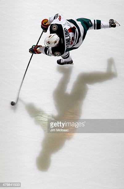 Mikael Granlund of the Minnesota Wild warms up before a game against the New Jersey Devils at the Prudential Center on March 20 2014 in Newark New...
