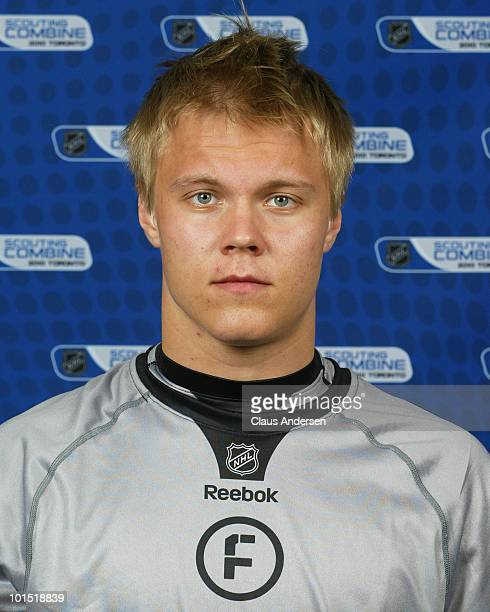 Mikael Granlund poses for a portrait prior to testing at the 2010 NHL Combine on May 28 2010 at the Westin Bristol Place in Toronto Canada