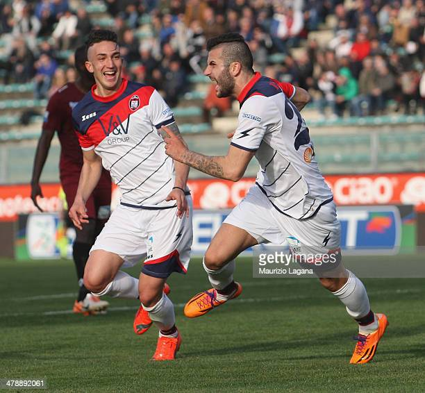 Mikael Ishak of Crotone celebrates after scoring his team's second goal during the Serie B match between Reggina Calcio and FC Crotone at Stadio...