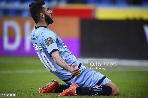 Mikael Ishak of Randers FC celebrates after scoring their first goal during the Danish Alka Superliga match between Randers FC and FC Copenhagen at...