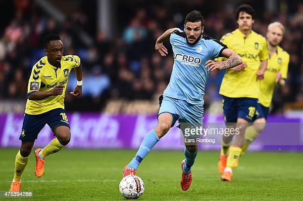 Mikael Ishak of Randers FC controls the ball during during the Danish Alka Superliga match between Randers FC and Brondby IF at AutoC Park on May 31...